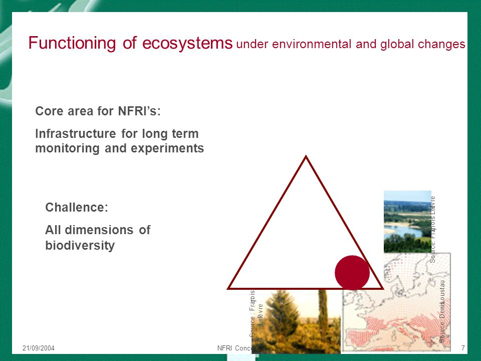 21/09/2004NFRI Concept Paper7 Functioning of ecosystems under environmental and global changes Source: Fran ç ois Lef è vre Source : Fran ç ois Lef è