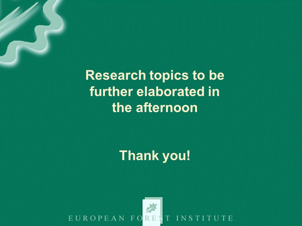 Research topics to be further elaborated in the afternoon Thank you!