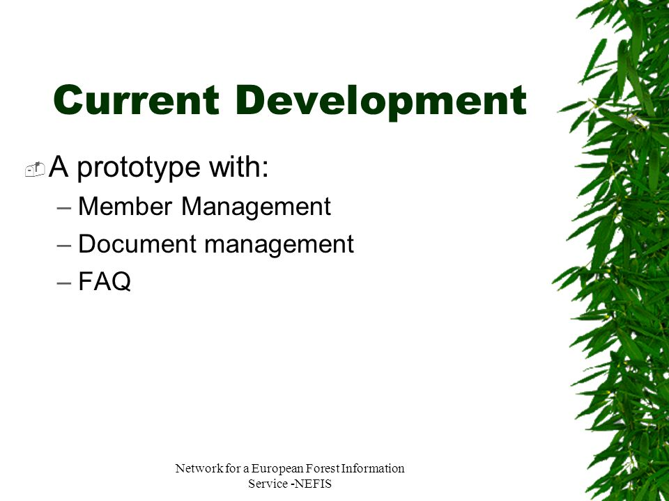 Network for a European Forest Information Service -NEFIS Current Development  A prototype with: –Member Management –Document management –FAQ