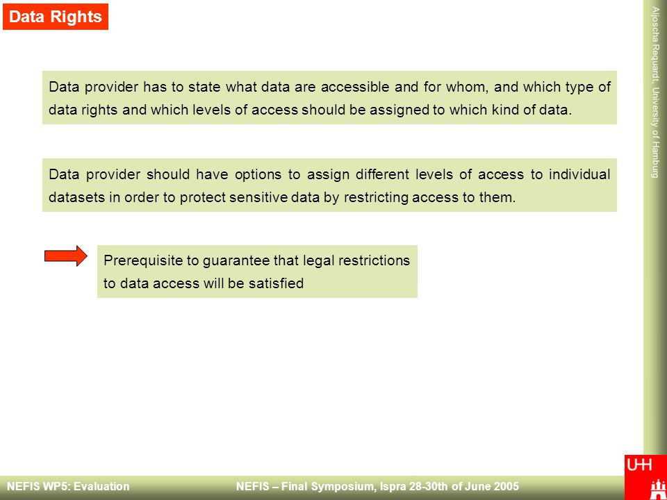 Aljoscha Requardt, University of Hamburg NEFIS WP5: Evaluation NEFIS – Final Symposium, Ispra 28-30th of June 2005 Data Rights Data provider has to state what data are accessible and for whom, and which type of data rights and which levels of access should be assigned to which kind of data.