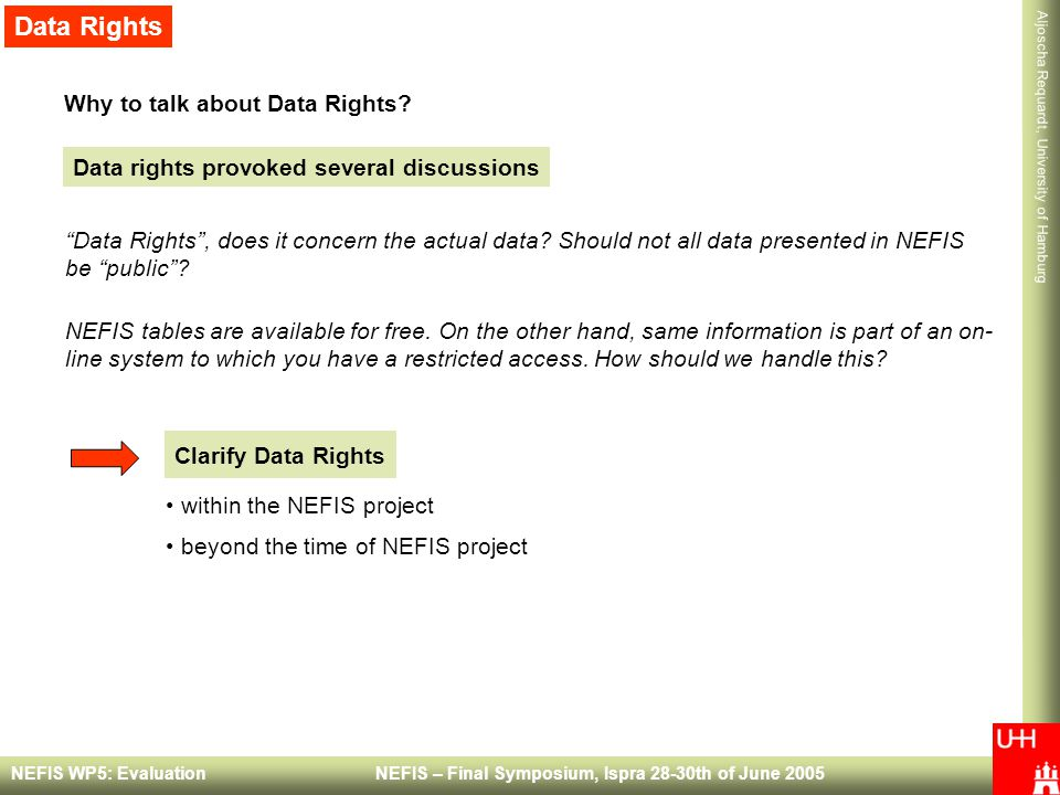 Aljoscha Requardt, University of Hamburg NEFIS WP5: Evaluation NEFIS – Final Symposium, Ispra 28-30th of June 2005 Why to talk about Data Rights.