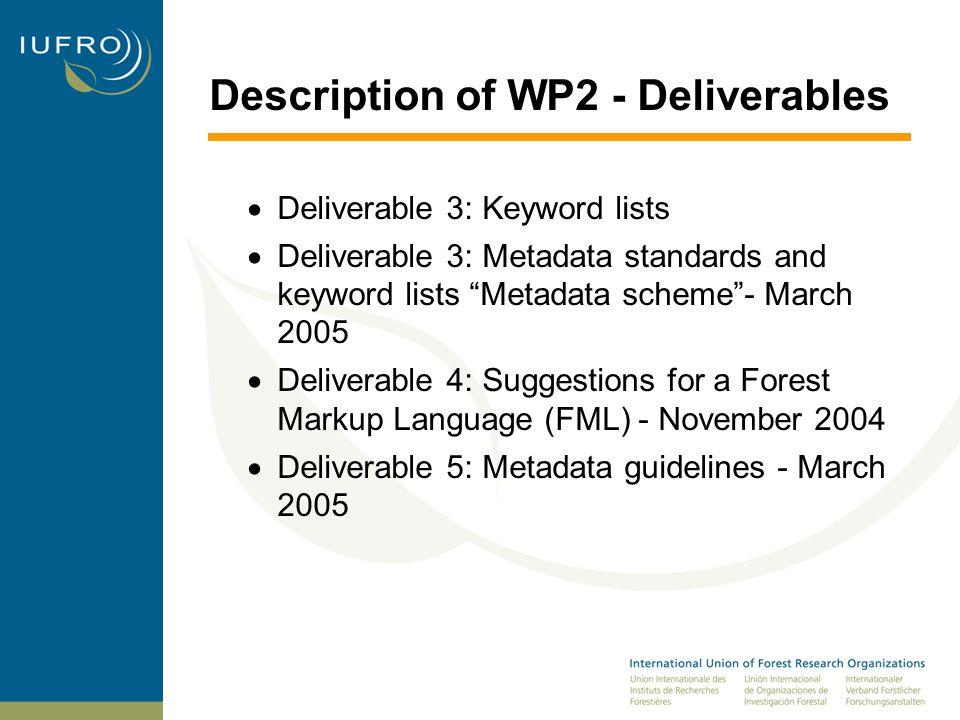 Description of WP2 - Deliverables  Deliverable 3: Keyword lists  Deliverable 3: Metadata standards and keyword lists Metadata scheme - March 2005  Deliverable 4: Suggestions for a Forest Markup Language (FML) - November 2004  Deliverable 5: Metadata guidelines - March 2005