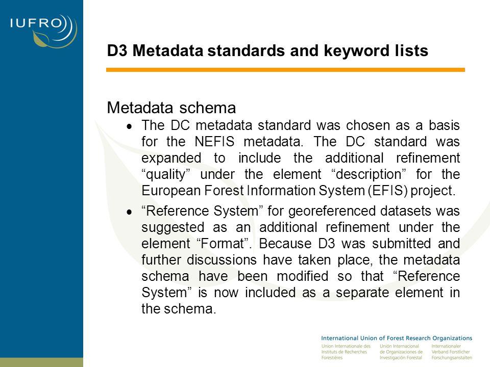 D3 Metadata standards and keyword lists Metadata schema  The DC metadata standard was chosen as a basis for the NEFIS metadata.