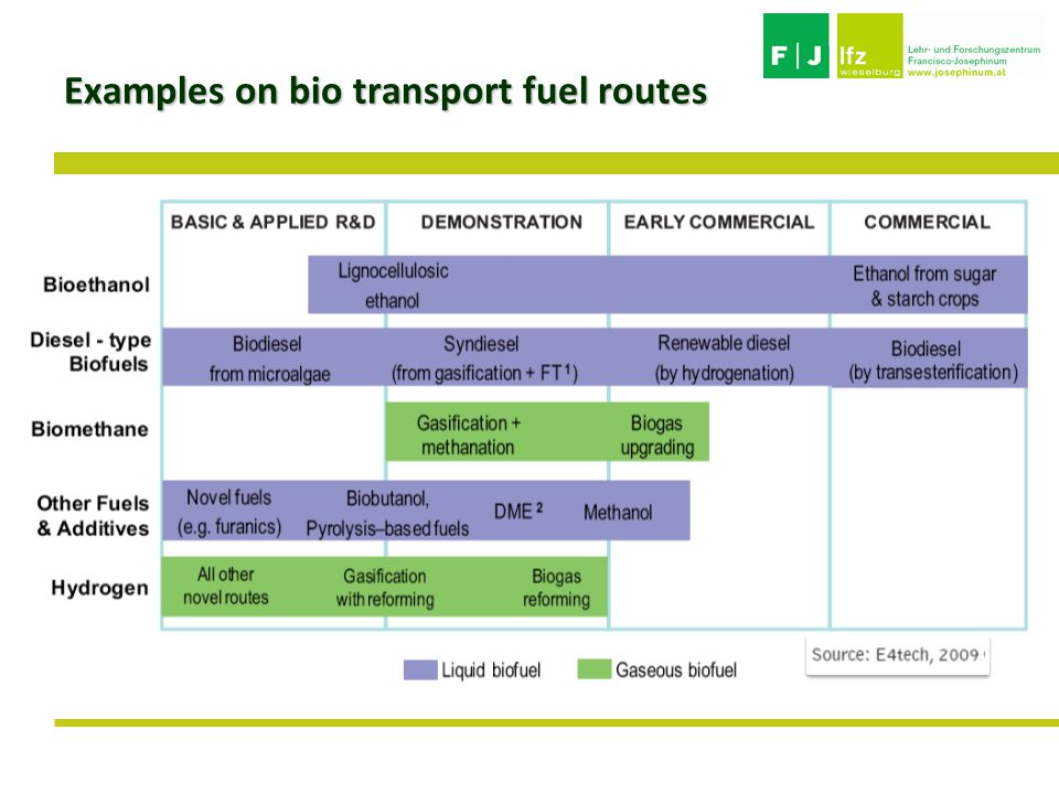 Examples on bio transport fuel routes