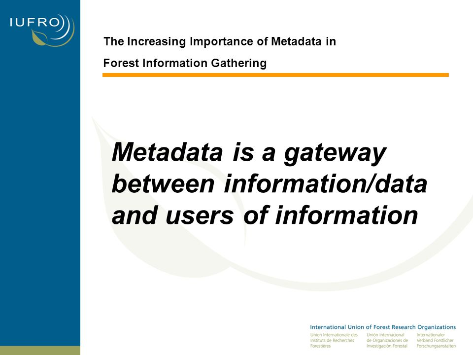 The Increasing Importance of Metadata in Forest Information Gathering Metadata is a gateway between information/data and users of information