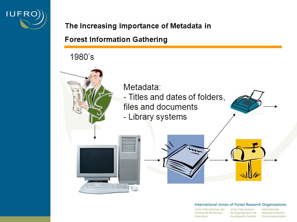 The Increasing Importance of Metadata in Forest Information Gathering Metadata: - Titles and dates of folders, files and documents - Library systems 1980's