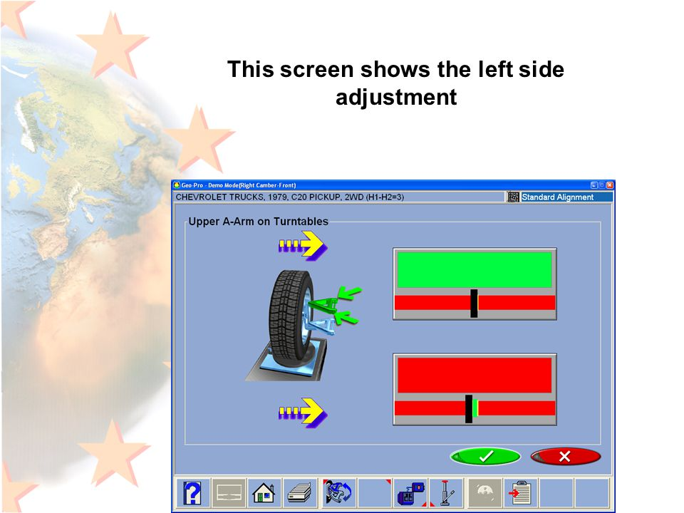 This screen shows the left side adjustment