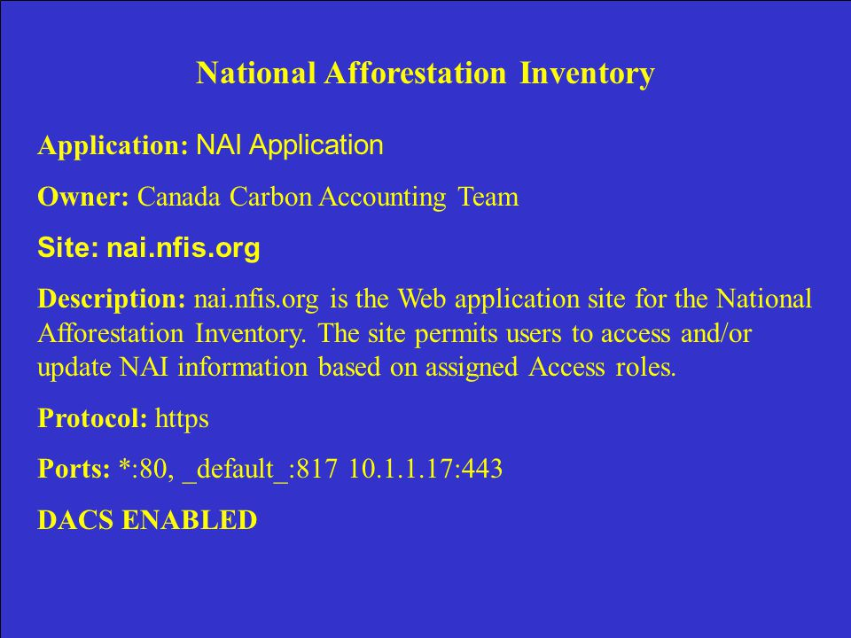 National Afforestation Inventory Application: NAI Application Owner: Canada Carbon Accounting Team Site: nai.nfis.org Description: nai.nfis.org is the Web application site for the National Afforestation Inventory.