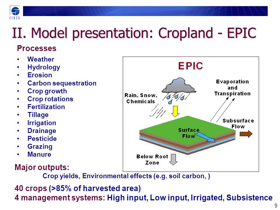 10 II. Model presentation: EPIC - Yields