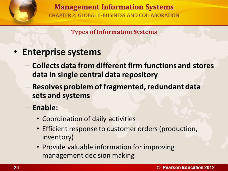 Management Information Systems CHAPTER 2: GLOBAL E-BUSINESS AND COLLABORATION Enterprise systems – Collects data from different firm functions and sto