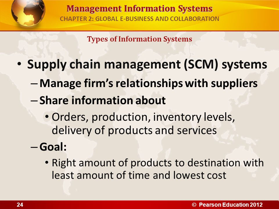 Management Information Systems CHAPTER 2: GLOBAL E-BUSINESS AND COLLABORATION Supply chain management (SCM) systems – Manage firm's relationships with