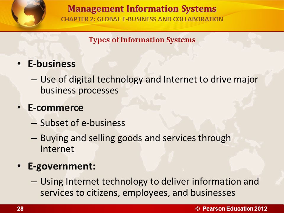 Management Information Systems CHAPTER 2: GLOBAL E-BUSINESS AND COLLABORATION E-business – Use of digital technology and Internet to drive major busin