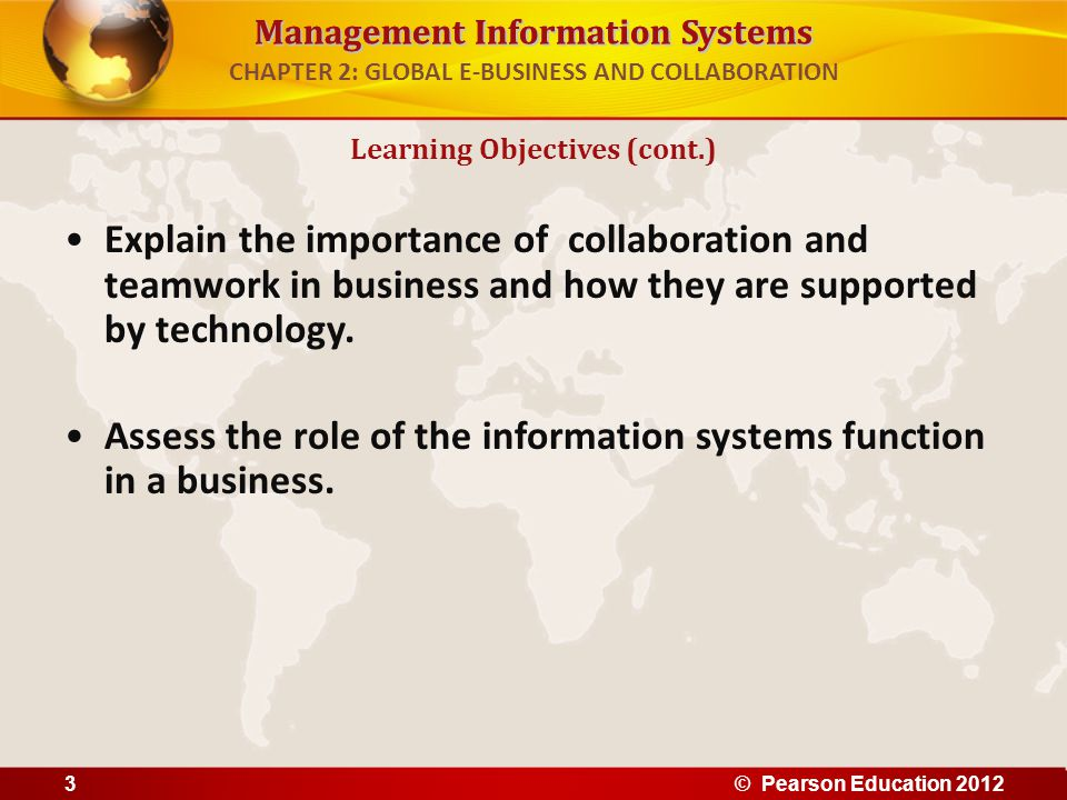 Management Information Systems CHAPTER 2: GLOBAL E-BUSINESS AND COLLABORATION Explain the importance of collaboration and teamwork in business and how