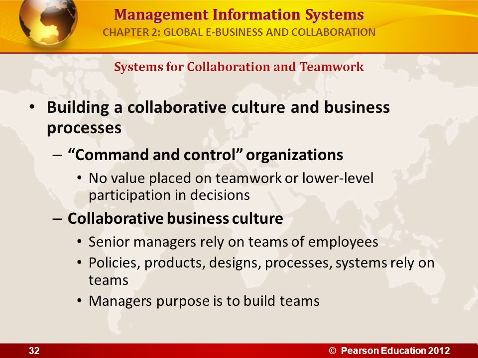 "Management Information Systems CHAPTER 2: GLOBAL E-BUSINESS AND COLLABORATION Building a collaborative culture and business processes – ""Command and c"