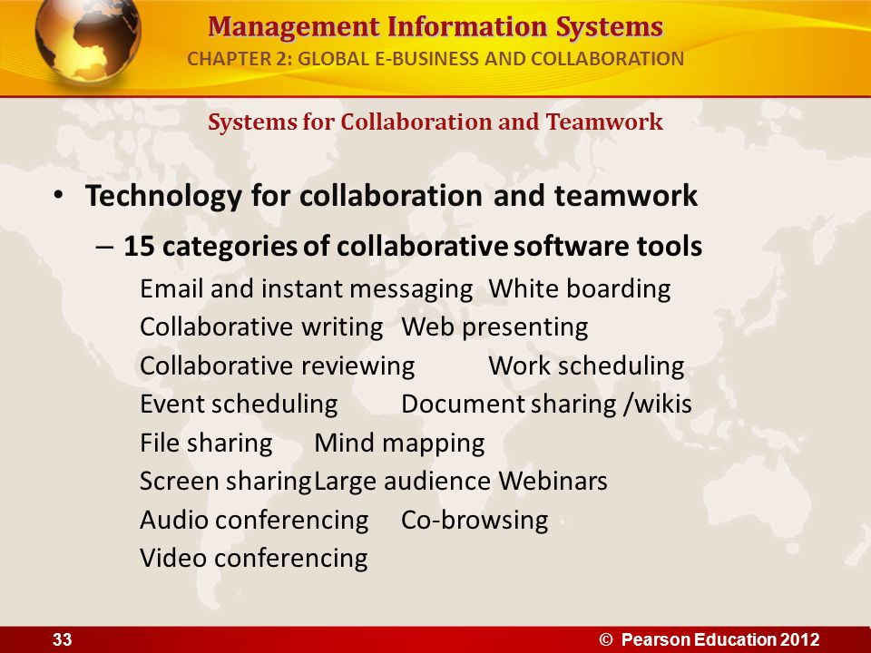 Management Information Systems CHAPTER 2: GLOBAL E-BUSINESS AND COLLABORATION Technology for collaboration and teamwork – 15 categories of collaborati