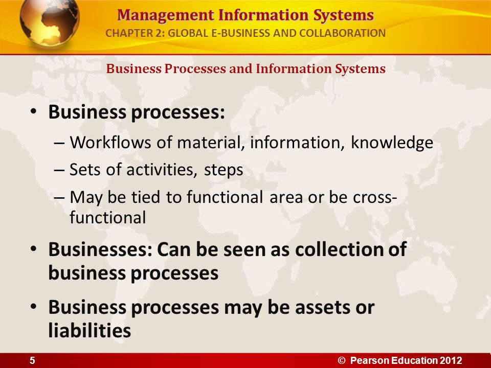 Management Information Systems CHAPTER 2: GLOBAL E-BUSINESS AND COLLABORATION Business processes: – Workflows of material, information, knowledge – Se