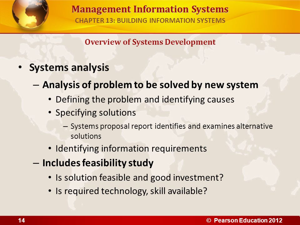 Management Information Systems Systems analysis – Analysis of problem to be solved by new system Defining the problem and identifying causes Specifyin