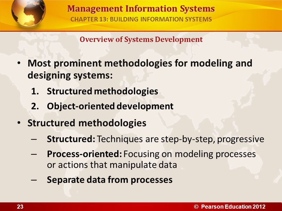 Management Information Systems Most prominent methodologies for modeling and designing systems: 1.Structured methodologies 2.Object-oriented developme