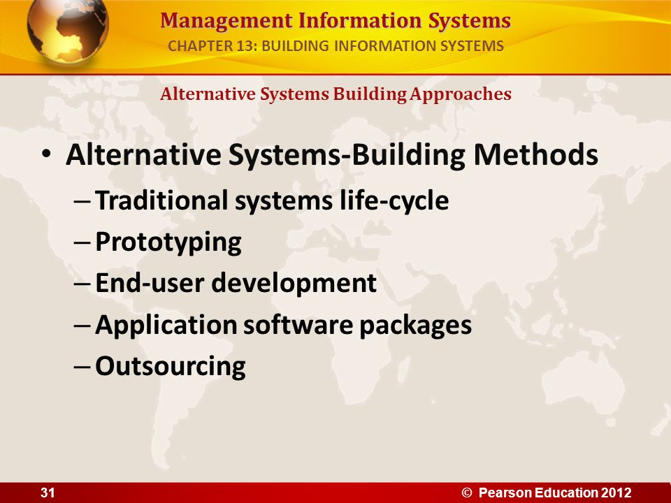 Management Information Systems Alternative Systems-Building Methods – Traditional systems life-cycle – Prototyping – End-user development – Applicatio