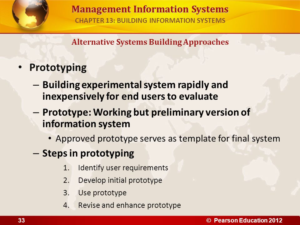 Management Information Systems Prototyping – Building experimental system rapidly and inexpensively for end users to evaluate – Prototype: Working but