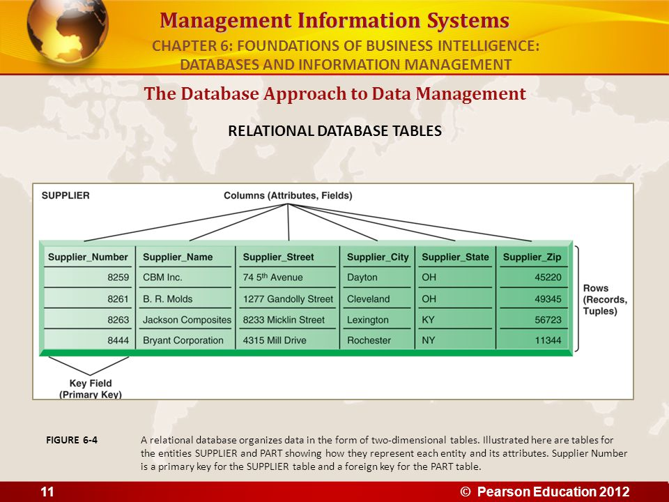 Management Information Systems The Database Approach to Data Management RELATIONAL DATABASE TABLES A relational database organizes data in the form of