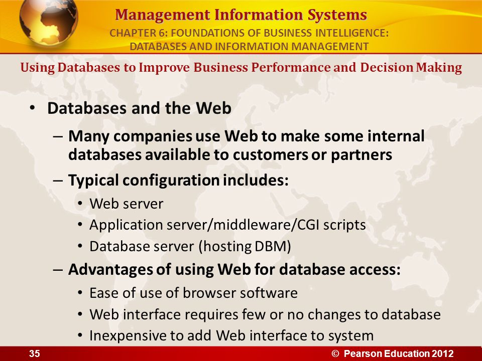 Management Information Systems Databases and the Web – Many companies use Web to make some internal databases available to customers or partners – Typ