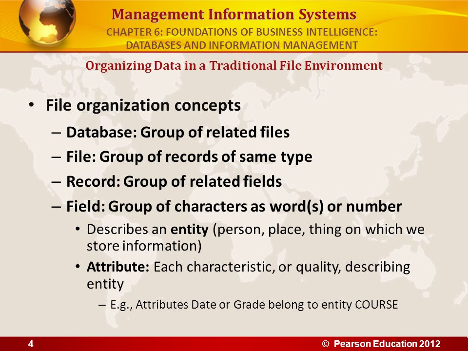 Management Information Systems File organization concepts – Database: Group of related files – File: Group of records of same type – Record: Group of