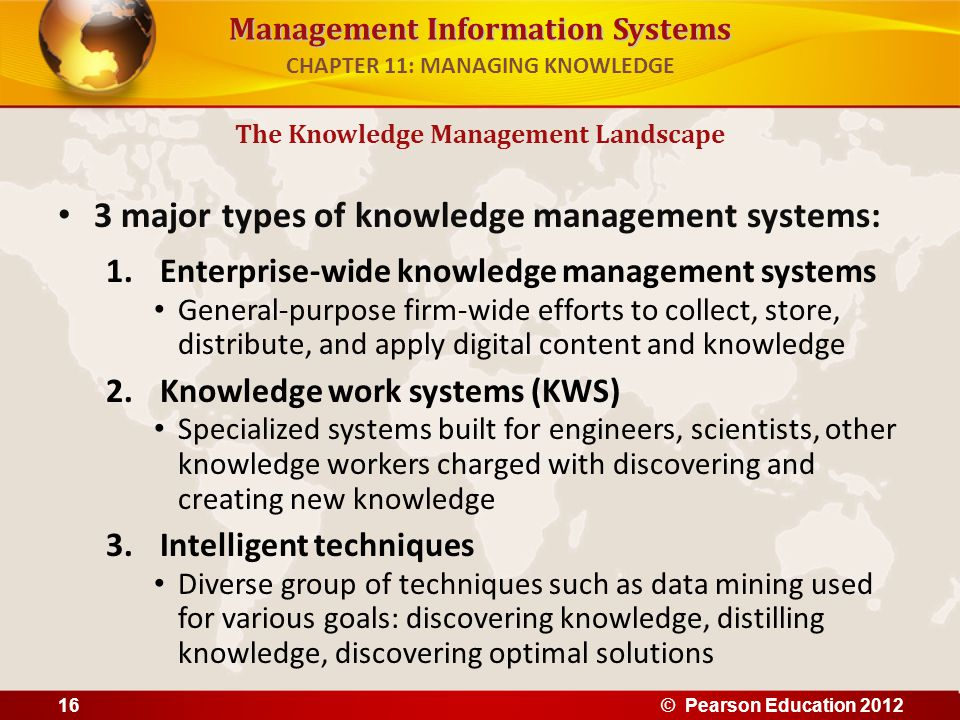 Management Information Systems 3 major types of knowledge management systems: 1.Enterprise-wide knowledge management systems General-purpose firm-wide