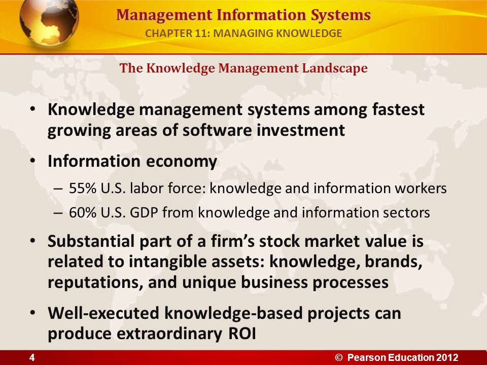 Management Information Systems Knowledge management systems among fastest growing areas of software investment Information economy – 55% U.S. labor fo