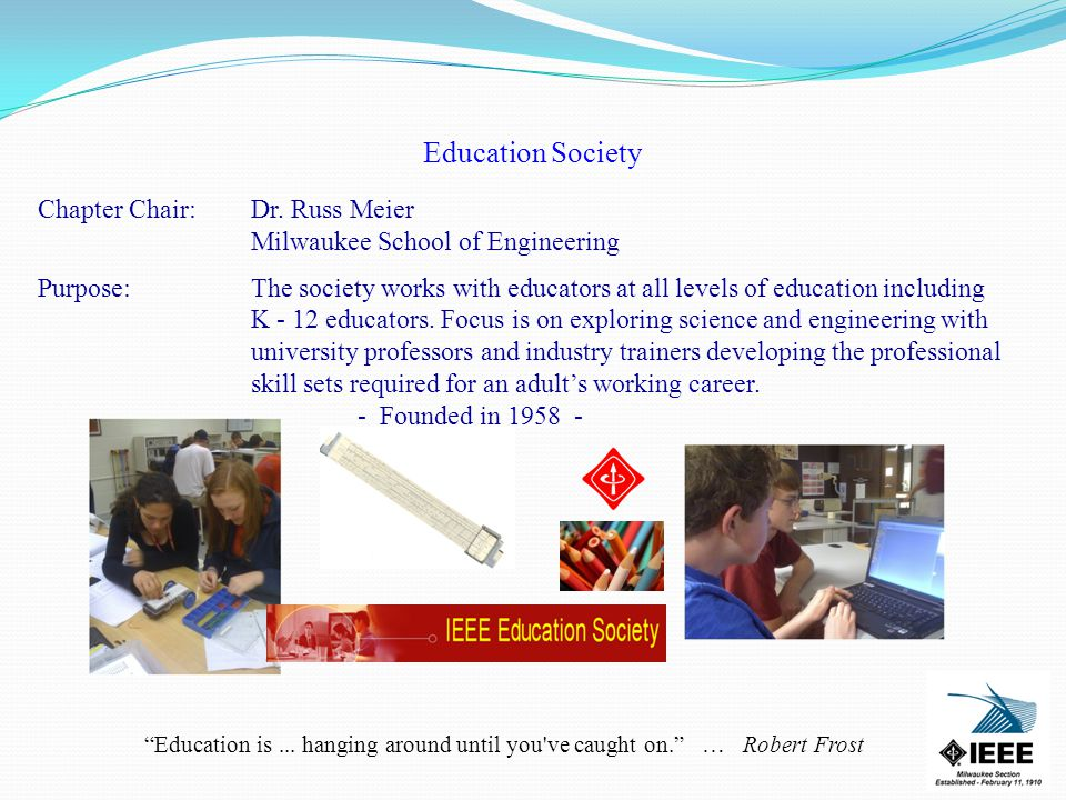 Education Society Chapter Chair:Dr.