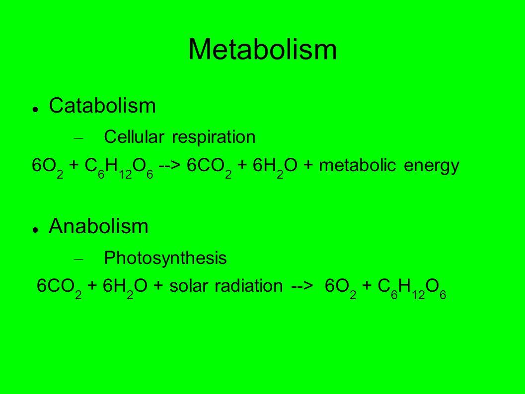Metabolism Catabolism – Cellular respiration 6O 2 + C 6 H 12 O 6 --> 6CO 2 + 6H 2 O + metabolic energy Anabolism – Photosynthesis 6CO 2 + 6H 2 O + solar radiation --> 6O 2 + C 6 H 12 O 6