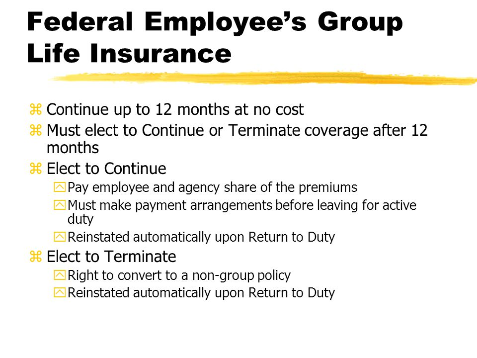 Federal Employee's Group Life Insurance zContinue up to 12 months at no cost zMust elect to Continue or Terminate coverage after 12 months zElect to Continue yPay employee and agency share of the premiums yMust make payment arrangements before leaving for active duty yReinstated automatically upon Return to Duty zElect to Terminate yRight to convert to a non-group policy yReinstated automatically upon Return to Duty