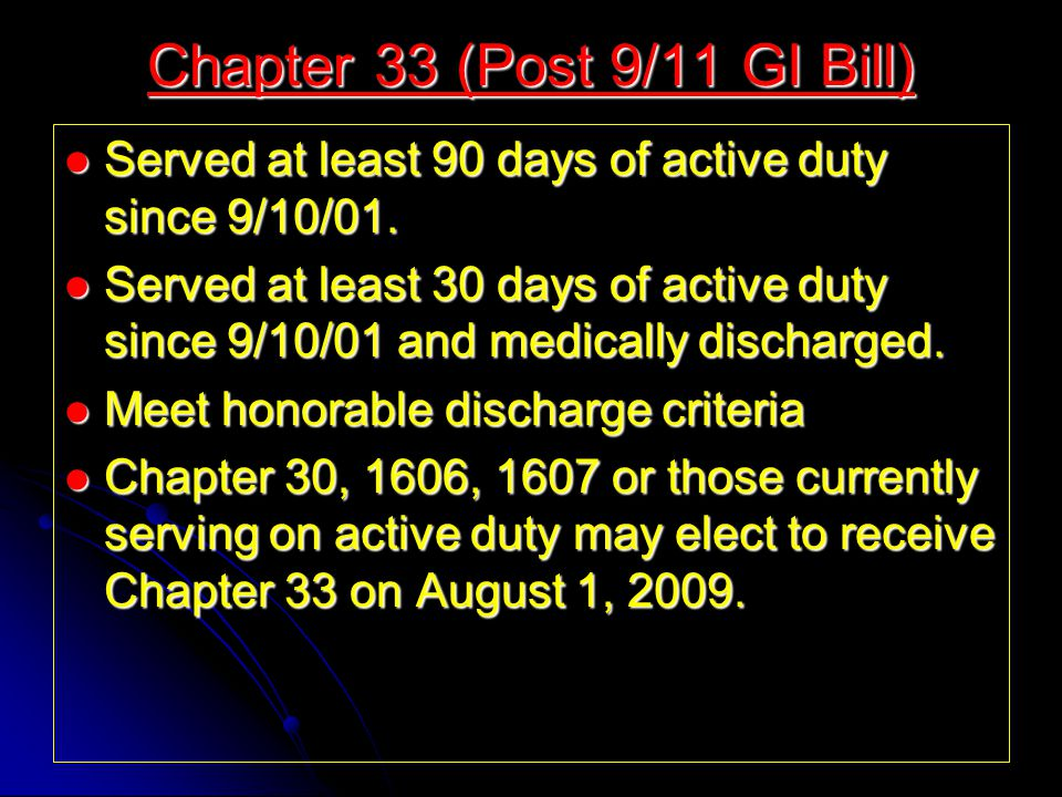Served at least 90 days of active duty since 9/10/01.