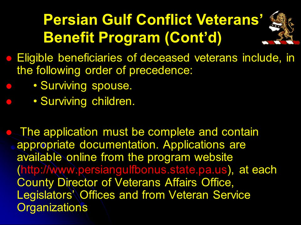 Eligible beneficiaries of deceased veterans include, in the following order of precedence: Surviving spouse.