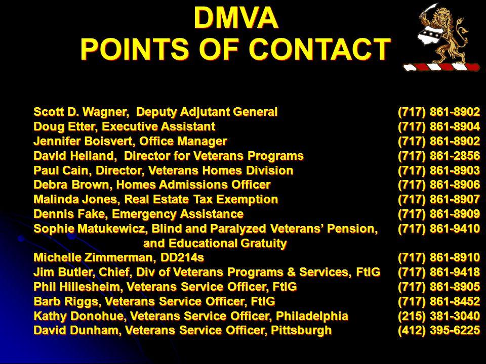 DMVA POINTS OF CONTACT DMVA POINTS OF CONTACT Scott D.