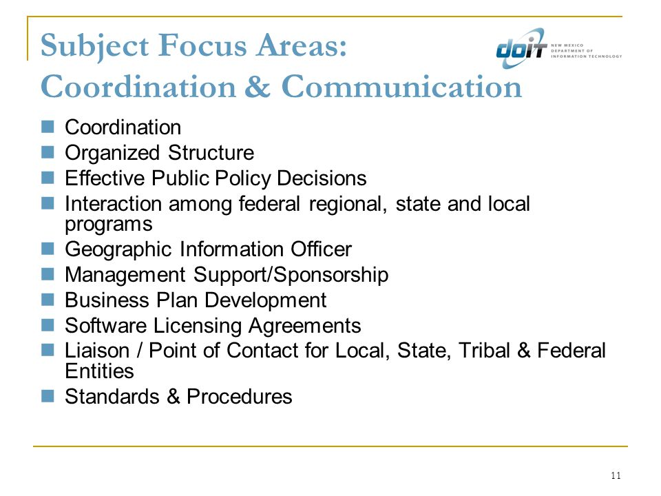 11 Subject Focus Areas: Coordination & Communication Coordination Organized Structure Effective Public Policy Decisions Interaction among federal regi