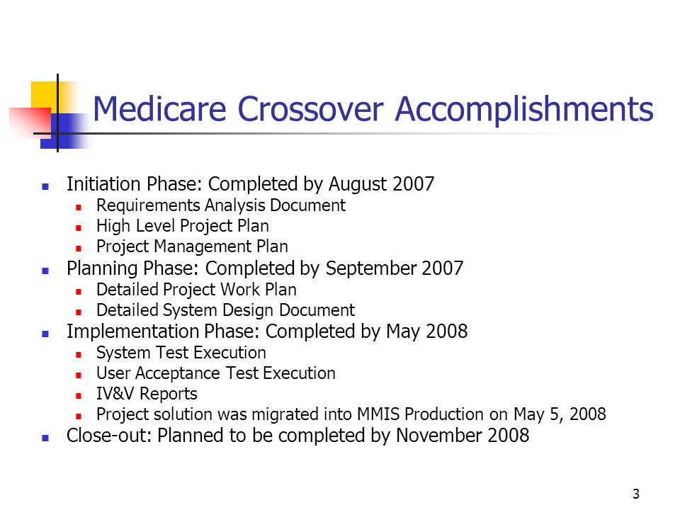 3 Medicare Crossover Accomplishments Initiation Phase: Completed by August 2007 Requirements Analysis Document High Level Project Plan Project Managem
