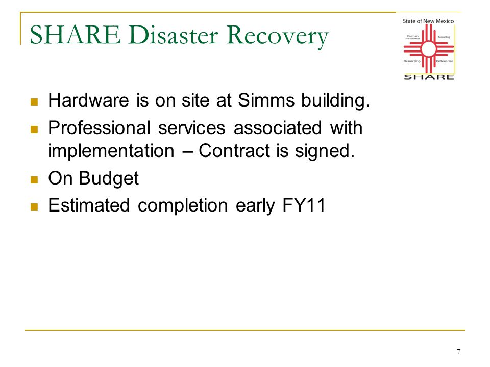7 SHARE Disaster Recovery Hardware is on site at Simms building.