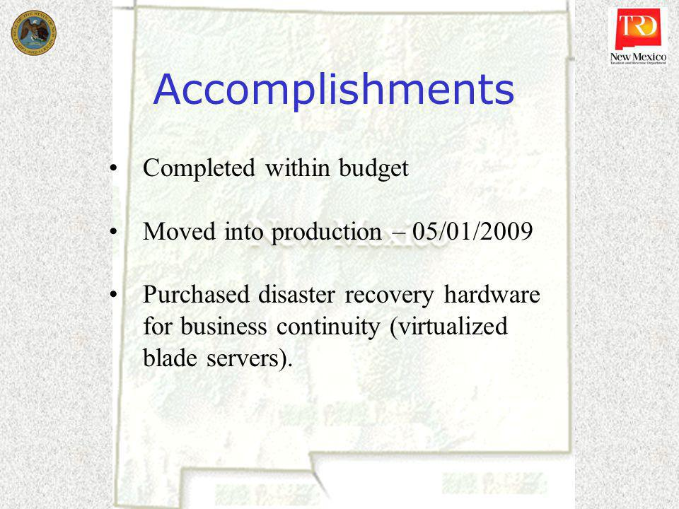 Accomplishments Completed within budget Moved into production – 05/01/2009 Purchased disaster recovery hardware for business continuity (virtualized blade servers).