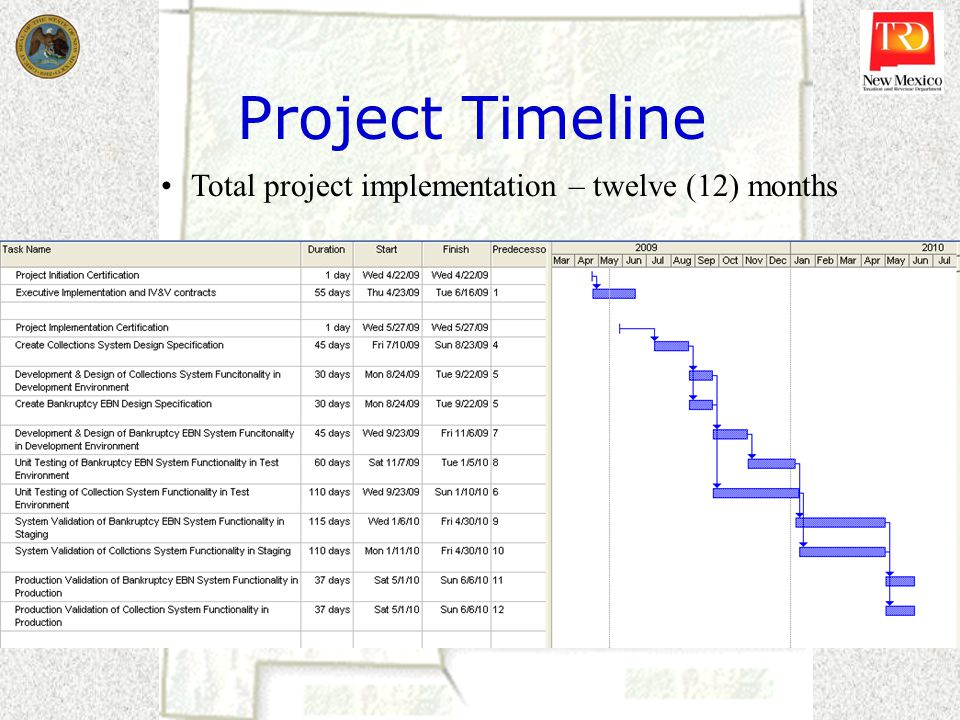 Project Timeline Total project implementation – twelve (12) months