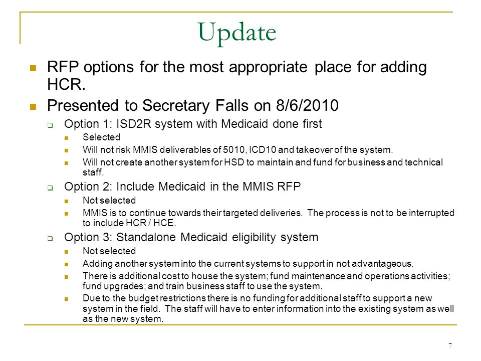 7 Update RFP options for the most appropriate place for adding HCR.