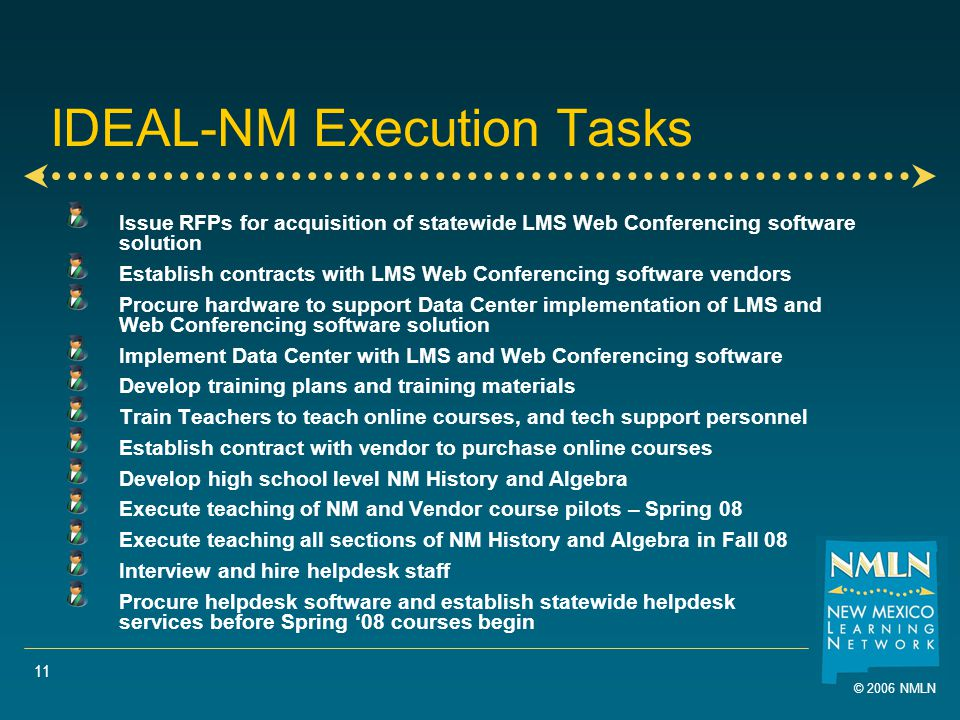 © 2006 NMLN 11 IDEAL-NM Execution Tasks Issue RFPs for acquisition of statewide LMS Web Conferencing software solution Establish contracts with LMS Web Conferencing software vendors Procure hardware to support Data Center implementation of LMS and Web Conferencing software solution Implement Data Center with LMS and Web Conferencing software Develop training plans and training materials Train Teachers to teach online courses, and tech support personnel Establish contract with vendor to purchase online courses Develop high school level NM History and Algebra Execute teaching of NM and Vendor course pilots – Spring 08 Execute teaching all sections of NM History and Algebra in Fall 08 Interview and hire helpdesk staff Procure helpdesk software and establish statewide helpdesk services before Spring '08 courses begin