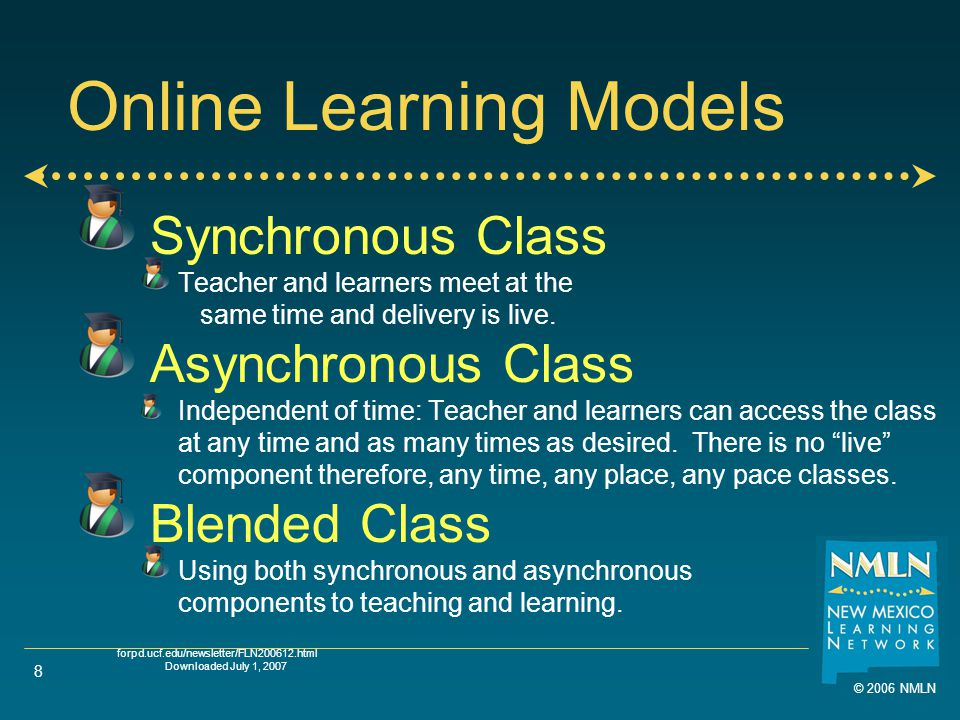 8 Online Learning Models Synchronous Class Teacher and learners meet at the same time and delivery is live.