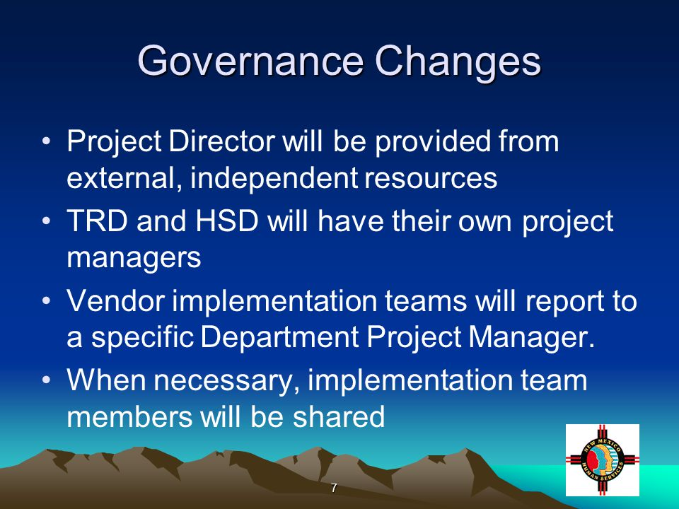 8 Implementation Services Procurement An implementation vendor has been selected Services have been obtained within the project budget Both TRD and HSD/CSED are currently reviewing and revising the implementation contract Both TRD and HSD/CSED are ensuring that the required functionality for their organization is tightly specified