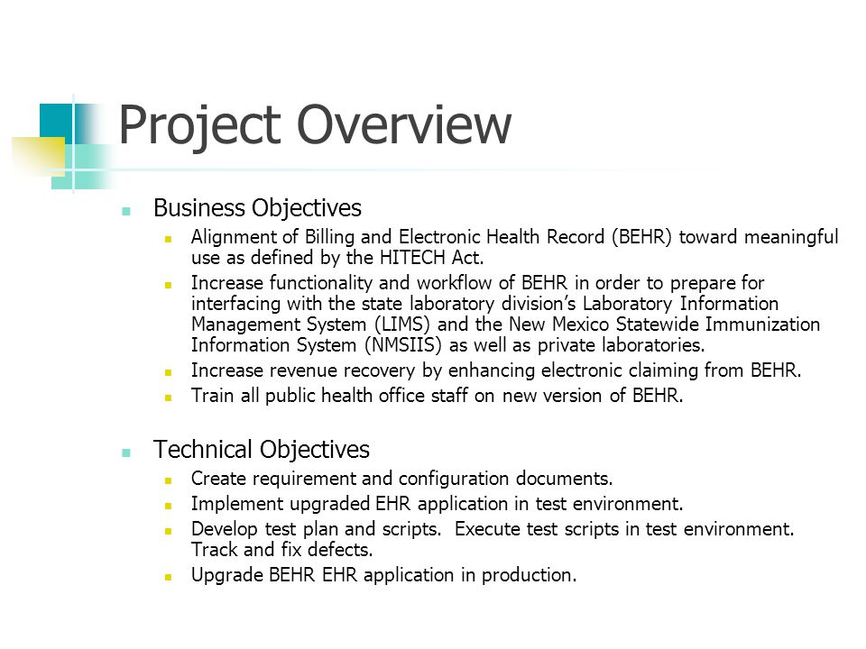 Project Overview Business Objectives Alignment of Billing and Electronic Health Record (BEHR) toward meaningful use as defined by the HITECH Act.