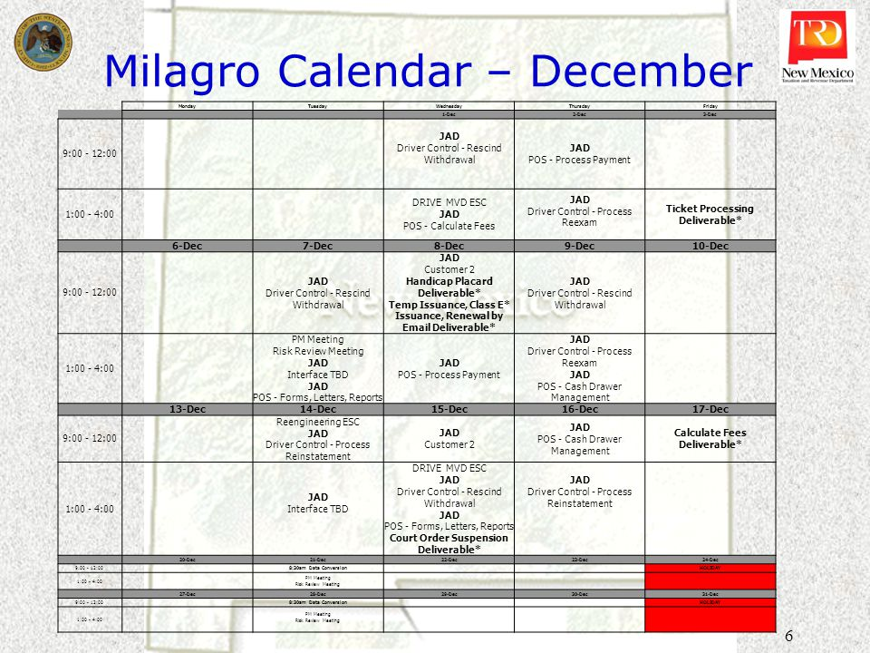 6 Milagro Calendar – December MondayTuesdayWednesdayThursdayFriday 1-Dec2-Dec3-Dec 9:00 - 12:00 JAD Driver Control - Rescind Withdrawal JAD POS - Process Payment 1:00 - 4:00 DRIVE MVD ESC JAD POS - Calculate Fees JAD Driver Control - Process Reexam Ticket Processing Deliverable* 6-Dec7-Dec8-Dec9-Dec10-Dec 9:00 - 12:00 JAD Driver Control - Rescind Withdrawal JAD Customer 2 Handicap Placard Deliverable* Temp Issuance, Class E* Issuance, Renewal by Email Deliverable* JAD Driver Control - Rescind Withdrawal 1:00 - 4:00 PM Meeting Risk Review Meeting JAD Interface TBD JAD POS - Forms, Letters, Reports JAD POS - Process Payment JAD Driver Control - Process Reexam JAD POS - Cash Drawer Management 13-Dec14-Dec15-Dec16-Dec17-Dec 9:00 - 12:00 Reengineering ESC JAD Driver Control - Process Reinstatement JAD Customer 2 JAD POS - Cash Drawer Management Calculate Fees Deliverable* 1:00 - 4:00 JAD Interface TBD DRIVE MVD ESC JAD Driver Control - Rescind Withdrawal JAD POS - Forms, Letters, Reports Court Order Suspension Deliverable* JAD Driver Control - Process Reinstatement 20-Dec21-Dec22-Dec23-Dec24-Dec 9:00 - 12:00 8:30am Data Conversion HOLIDAY 1:00 - 4:00 PM Meeting Risk Review Meeting 27-Dec28-Dec29-Dec30-Dec31-Dec 9:00 - 12:00 8:30am Data Conversion HOLIDAY 1:00 - 4:00 PM Meeting Risk Review Meeting