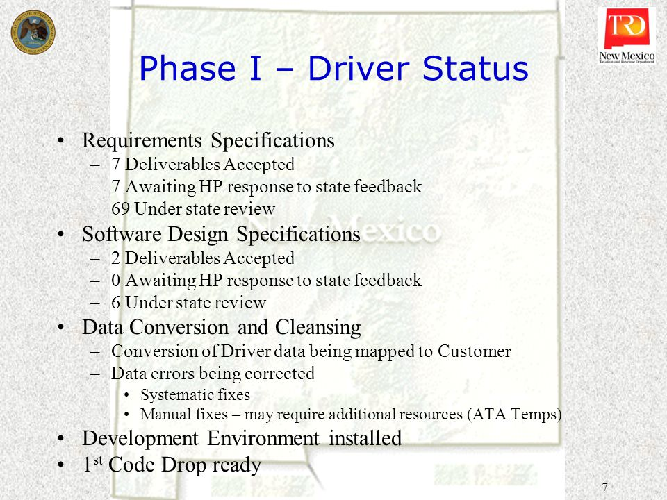 8 Milagro Project Timeline - Driver