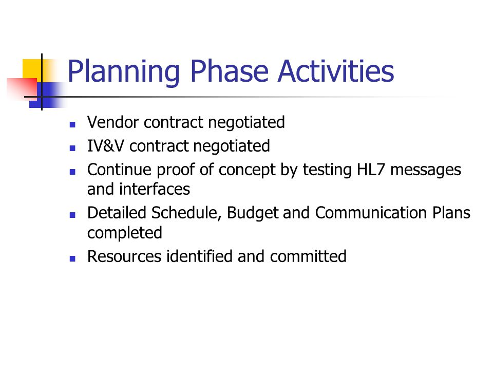 Implementation Phase Activities Interface with 6 pilot sites Upgrade NMSIIS to HL7 2.5.1 and then build a web services framework for fully automated Bidirectional data exchange with the 6 pilot sites Execute IV&V Contract Execute NMSIIS vendor contract amendment Execute Contract with Lovelace Clinical Foundation Document testing procedures leading up to future data exchange efforts with the ~1,100 immunization providers across the state