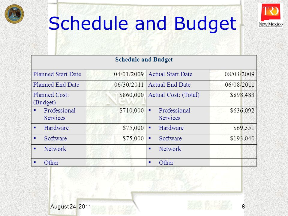 Schedule and Budget August 24, 2011 8 Schedule and Budget Planned Start Date04/01/2009Actual Start Date08/03/2009 Planned End Date06/30/2011Actual End