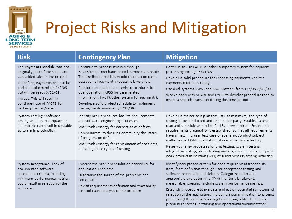 8 Project Risks and Mitigation RiskContingency PlanMitigation The Payments Module was not originally part of the scope and was added later in the proj